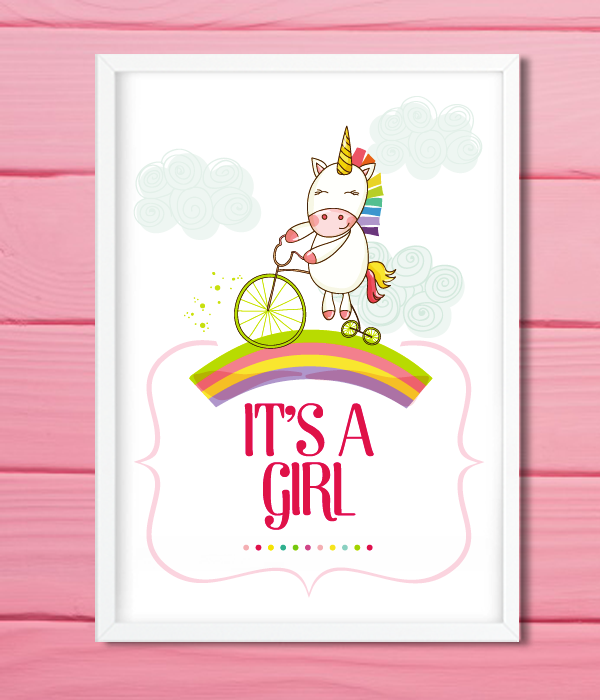 "Постер для baby shower ""Unicorn"""