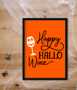 "Постер на Хэллоуин ""Happy HALLO Wine"" (2 размера)"