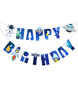 "Гирлянда ""Happy Birthday"" в стиле космос"