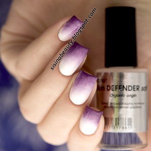 Barlet Skin DEFENDER Soft, Konad Gel Effect - 02 Certain White & 11 Urban Violet. Градиентный маникюр со стемпингом Konad