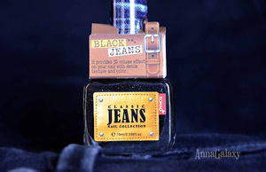 Konad Classic Jeans Nail Collection  Лак для ногтей Black Jeans + стемпинг с  Konad Special Nail Polish Light Bronze